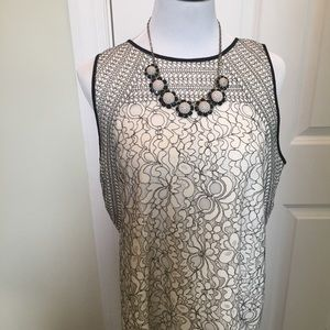 Loft Creme & Black embroidered sleeveless sheath